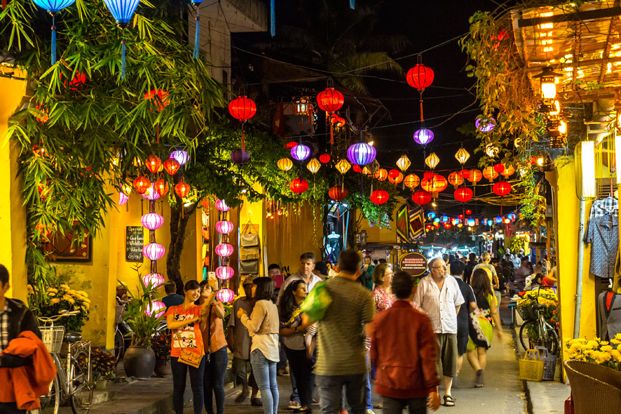 Colourful lanterns hanging over the walking street in the Old Town of Hoi An