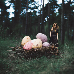 Nest (laurawilliams▲) Tags: mini eggs easter forest woods nature nest trees cadbury chocolate birds surreal surrealism fine art portrait selfportrait