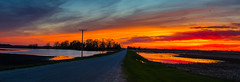 Easter Sunset (PhotoJacko - Jackie Novak) Tags: easter2017 canon70200mmf28ii sunset beecher illinois country road landscape panoramic water fire sky canon 6d
