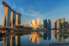 Sunrise and bridge in Singapore City with panorama view (anekphoto) Tags: singapore bay marina city skyline night sunrise sands panorama modern view water sunset architecture tourism urban asia landmark building light reflection famous cityscape hotel travel bridge river dusk skyscraper lights twilight flyer morning background beautiful sea structure tower national exterior financial east evening bank mirror museum theater reflect lotus waterfront