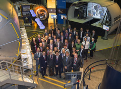 Irish Minister with Irish ESA employees (europeanspaceagency) Tags: esa estec irish minister johnhalligan visit tour columbus mockup erasmushumanspaceflightcentre