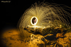 Steelwool Fun (All types of Photography by CJC) Tags: holiday shore pickoftheday nightphotography night brightlight timelapse specialeffects steelwool sunset beach