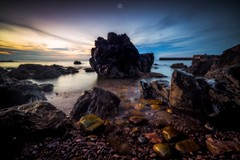 Dark Guardian (Augmented Reality Images (Getty Contributor)) Tags: canon cliffs clouds colours dusk landscape leefilters longexposure morayfirth portknockie rocks scotland sunset water waves
