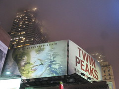 Twin Peaks Billboard Times Square 2017 Foggy Night NYC 4851 (Brechtbug) Tags: twin peaks the return billboard poster ad laura palmer sheryl lee fbi agent dale cooper kyle maclachlan mystery 90s show showtime type mysterious bird birds owl owls may 05212017 9pm 2017 nyc broadway 50th st near times square midtown manhattan street new york city streets 04272017 hazy fog foggy night nite