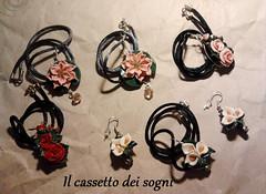 commissione (Il cassetto dei sogni) Tags: pastadimais porcellanafredda artigianali pendente orecchini fiori ninfea rosa