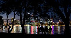 Four on the Shore (Helen Vercoe) Tags: city skyline night reflections lights cityscape colours nightscape australia perth nightsky shimmer perthwa