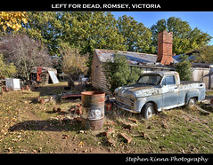 Left for Dead (Stephen Kinna Photography) Tags: old uk autumn trees chimney house brick english cars abandoned home leaves car rural countryside photo fridge nikon rust track drum decay farm bricks shed engine rusty australia victoria bin chrome forgotten rusted british grille hdr highdynamicrange decayed 44 decaying gallon romsey nikond600 photoengine oloneo stephenkinna stephenkinnaphotography
