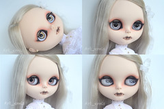 Silver Moon (Art_emis) Tags: moon art girl work silver hair chat doll long hand handmade drawing vampire ooak painted side blythe mold fangs custom eyelids capuccino parted rbl
