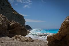 Lefkada (bernd obervossbeck) Tags: sea beach strand meer waves cyan greece griechenland ioniansea wellen kreidefelsen trkis lefkada chalkcliffs ionischesmeer