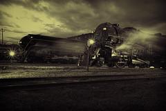 The Race (dbnunley) Tags: railroad blackandwhite monochrome night train virginia smoke engine steam cc roanoke locomotive attribution virginiamuseumoftransportation canoneos60d