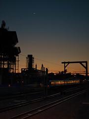 september 10 2010 (ask-questions-later) Tags: travel moon silhouette night digital train evening twilight dusk tracks australia olympus perth western wa dmmerung australien bahn zuiko westernaustralia zwielicht 1442mm