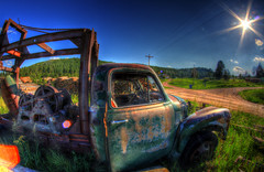 End of the road (Notkalvin) Tags: sun chevrolet southdakota rural truck rust crane decay explore sd chevy flare oldtruck pringle sunflare flickrexplore explored notkalvin