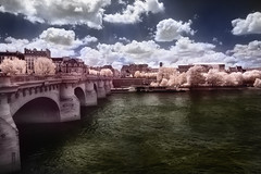 rainbow bridge (greg westfall.) Tags: bridge blackandwhite bw paris france water seine clouds buildings river french ir infrared handtinted supershot abigfave lifepixel 830nm impressedbeauty gregwestfall gregwestfallphotography