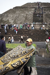 Teotihuacan, Mexico: The Pyramid of the Sun (Owlwithoutfeathers) Tags: life old city light people sun moon color colour abandoned archaeology wet rain mystery architecture umbrella dark mexico religious death 50mm ancient nikon gloomy maya teotihuacan birth steps culture murals tourist unesco age empire civilization pyramids 28 20mm veracruz americas anthropology precolumbian steep mesoamerican ais lightroom multiethnic totonac otomi nahua d700 teotihuacano worldheritagesite sanjuan avenueofthedead 100bc 250ad