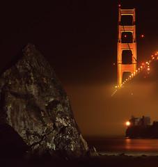 It Might Be Golden After All (RZ68) Tags: bridge light lighthouse 120 film water rock fog night dark golden bay gate rocks long exposure baker fort marin low foggy velvia needle shore headlands ft lime 6x7 needles provia rz67 ggnra seafog e100 rz68