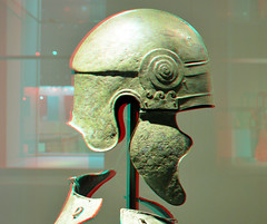 Greek Armour RMO 3D (wim hoppenbrouwers) Tags: leiden 3d helmet anaglyph stereo rmo rijksmuseumvanoudheden redcyan panoplie greekarmourrmo