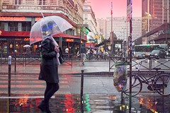 Paris in the Rain @Montparnasse (CreART Photography) Tags: street city travel light sunset shadow urban paris france color art abandoned love beautiful fashion seine umbrella canon river dark photography movement model frankreich europa raw ledefrance picture streetphotography frana toureiffel francia parijs pars  parigi  sena autofocus seineriver riosena laseine pary parys  pariis  excursionboats parizo rosena  parisintherain fleuvefranais pars creartphotography
