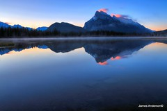 Vermilion Reflection (JA Photography - Be There, Out There) Tags: mountain canada reflection alberta banffnationalpark mtrundle tunnelmountain vermilionlakes jamesanderson vermilionlake mountainreflections japhotography reflectingmountains