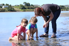 See Aunty Sarah...? (chestnutgrey) Tags: sea newzealand beach canon twins december maddy emmy cathy raglan 2013 ironsand canoneos550d december2013 chestnutgrey sarahoettli 23december2013