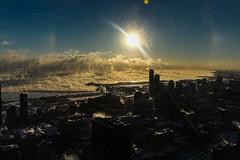 A lake evaporating toward Michigan (aerojad) Tags: winter snow chicago skyline lakemichigan chiberia