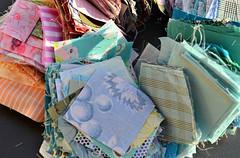 My scrap bin is a wonderland! (balu51) Tags: pink blue orange sunlight green backlight outside afternoon squares turquoise teal sewing crafts wip quilting 60mm scraps patchwork januar 2014 scrapbin irishchainquilt copyrightbybalu51