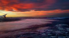 Oslo redux (amazingstoker) Tags: oslo norway snow sunset descent flight lhr ice cloud red osl sea window ba766 outdoor sky water ocean landscape shore