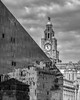 Lines, Elevenses and a Liver Bird (Rupert Brun) Tags: liverpool city old new architecture view reflection monochrome blackandwhite bw building modern threegraces 3graces glass steel stone liverbird 11 11oclock eleven clock