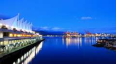 The Waterfront _ Vancouver BC ('Dazza' Quarin...back from the Dead) Tags: vancouver britishcolumbia canada waterfront water canadaplace night reflection