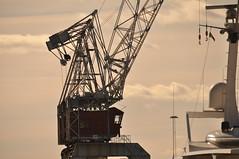 Crane and sky (viliris) Tags: crane sky backlight spring tjuvholmen oslo urban blue white metal wire manmade