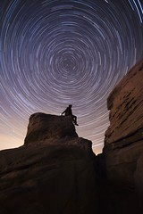 Stargazing (Ben Lockett) Tags: edge cliff drop high sandstone lightpollution naturallight light 1740l 6d canon staffs gritstone stone rock outcrop sitting silhouette self darkness dark astrophotography astro startrails stars night