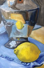 WIP Lemon and Denim (Handwork Naturals) Tags: reflection denim lemon oilpainting dailypainting edenscovillehart stilllife silver yellow blue