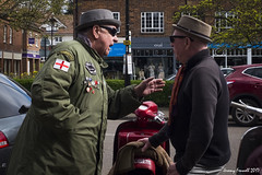 I'm tellin' yer mate (zolaczakl) Tags: harpenden scooterboys photographybyjeremyfennell april 2017 fujix100s candid streetscenes people