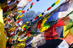 Prayer flags (BHWNDN) Tags: prayerflags religion buddism colours colors flags nepal himalaya mountains annapurna