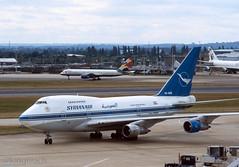 Syrian Air 747SP 'YK-AHB' (Longreach - Jonathan McDonnell) Tags: london londonheathrow egll 2001 scan scanfromaslide 2000s 11082001 boeing 747 747sp syria syrianair rb bw bwa مؤسسةالطيرانالعربيةالسورية syr ykahb