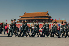 March (Mr McCarthy!) Tags: china bejing asia east eastern chinese travel sky tiananmen square tiananmensquare building buildings architecture police army men uniform march flag flags gate gatehouse tower city