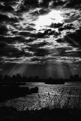 Heaven or hell? (PaulHoo) Tags: groene jonker nature landscape nik lightroom contrast clouds 2017 bw blackandwhite monochrome water reflection light ray sky underexposed heaven hell holland netherlands silhouette