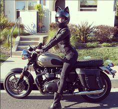 Female Biker with ca (BikerKarl2013) Tags: female biker with ca badass motorcycle helmet store stuff motorcycles