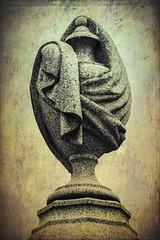 Draped Urn - Textured (No Talent Bum) Tags: cemeteries cemetery cemeterystatues urbancemeteries greenhillcemetery urn textures nikon nikond5300 manipulatedimages graveyards gravestones graves gravemarkers graveyard graveyardstatuary greensboro greensboronc greensboronorthcarolina