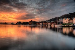 Bergen Norway (600tom) Tags: beautiful harbour holidays travel longexposure clouds yatch houses water sunset norway bergen