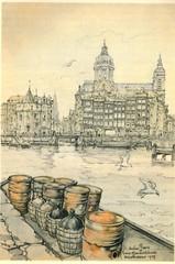 Anton Pieck- Bemin dan Amsterdam, 1948 ill  Prins hendrikkade  schreierstoren (janwillemsen) Tags: antonpieck amsterdam bookillustration 19451948