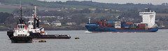 The tugs Cramond, IMO 9067269, Hopetoun, IMO 9140865, and the container ship Aldebaran J, IMO 9349186; Firth of Forth, Scotland (Michael Leek Photography) Tags: ships vessels tugs firthofforth edinburgh leith leithport scotland michaelleek michaelleekphotography shipping containership cargoship merchantship merchantnavy merchantships merchantvessel workingboat workboat forth thisisscotland awesomescotland scottishlandscapes scottishcoastline scotlandslandscapes