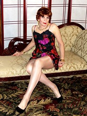DSC08277 (msdaphnethos) Tags: vintagedeenafloralslip transgender crossdresser heels pantyhose daphnethomas redhead