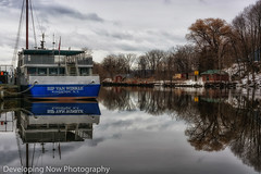 Down By The Waterside (nywheels) Tags: boat water rondout kingston ny newyork hudsonvalley midhudsonvalley ulstercounty sky clouds trees reflections buildings nikon