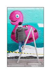 Street Art (Argirisser), East London, England. (Joseph O'Malley64) Tags: argirisser ser notacrime streetart urbanart publicart freeart graffiti eastlondon eastend london england uk britain british greatbritain art artists artistry artwork mural muralist wallmural wall walls brickwork bricksmortar cement pointing pavement accesscover aluminiumladder ladder hazardtape urban urbanlandscape aerosol cans spray paint fujix accuracyprecision