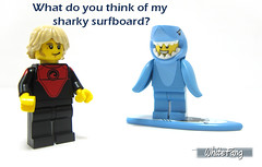 What do you think of my sharky surfboard? (WhiteFang (Eurobricks)) Tags: lego collectable minifigures series city town space castle medieval ancient god myth minifig distribution ninja history cmfs sports hobby medical animal pet occupation costume pirates maiden batman licensed dance disco service food hospital child children knights battle farm hero paris sparta historic