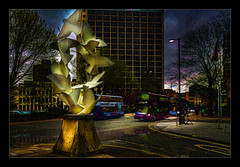 Doves of Peace (Kevin, Mr Manchester) Tags: architecture building canon1100d canon1855mm castlefileds citycentre england hdr lancashire manchester northwest outdoor photoart photoborder postprocessing streetlamps streetlights buses