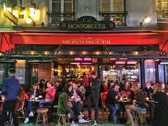 Paris  France ~  Cafe Montorgueil ~ Terrace for People Watch (Onasill ~ Bill Badzo) Tags: paris france restaurant cafe montorgueil travel tourist vacation musttsee terrace patio watch people men boys girls woman couples onasill downtown eats food beer wine dinner historic street ru reasumer candid rue bakeries flower shop parisian church saint eustache les halles grand boulevards historical iphonegraphy iphone gays