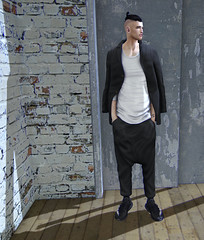 This lone wolf can survive in this lonely town (Levi Megadon // *OMG*) Tags: sl secondlife men mens male lotd look outfit mesh new event tss theseasonsstory exclusive blog blogger locktuft hair gorodee suit baggy street urban valekoer beezy lowtop sneaks sneakers streetwear