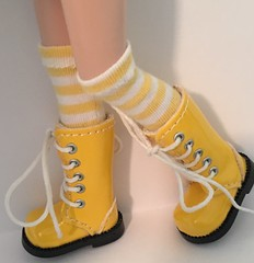 Yellow and White Striped Short Socks For Blythe...