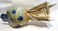 A Fishfull of Dollars (ricko) Tags: fish ceramic money bills dollars werehere 105365 2017 pun